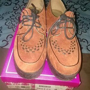 Cognac platform loafers